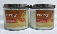 2 Bath Body Works Energy Orange Ginger Aromatherapy 3-wick Candle