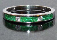 9ct White Gold Channel Set Princess Emerald .07ct Diamond Eternity Ring P