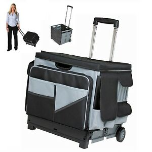 Teacher-Cart-Rolling-Organizer-Bag-Scrapbooking-Storage-Folds-Telescoping-Handle