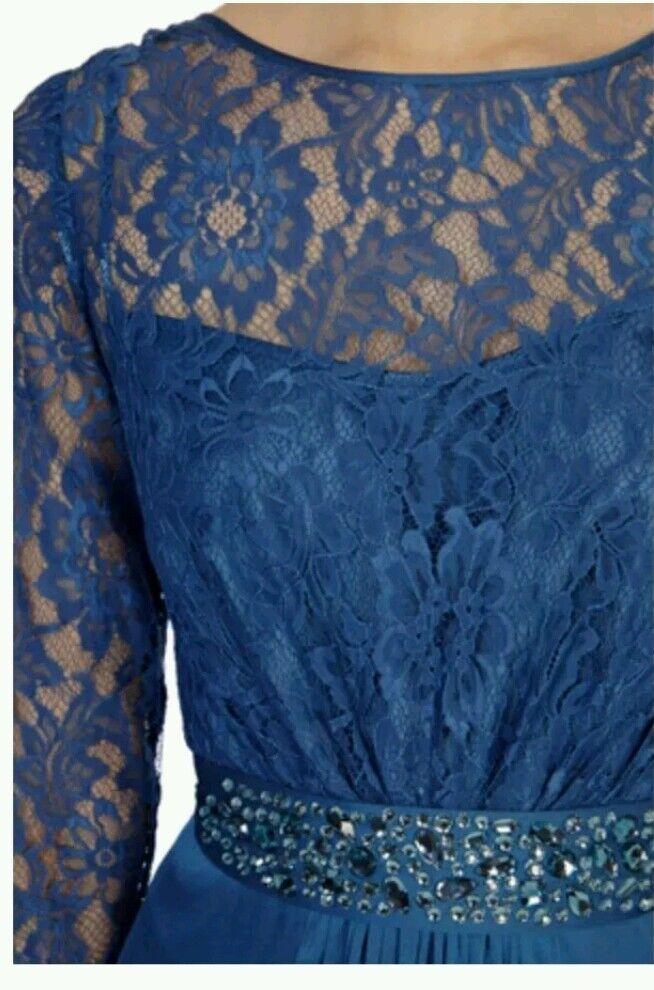 COAST LORI LEE LEE LEE LONG SLEEVED LACE WEDDDING BRIDESMAID EVENING DRESS SIZE 8 NEW 7b465b