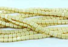 50 CzechMates Two Hole Tile Glass Bead Beads Opaque Light Beige 6mm