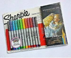 12-Sharpie-Ultra-Fine-Point-Markers-Prismacolor-Verithin-Colored-Pencils-Art-Set