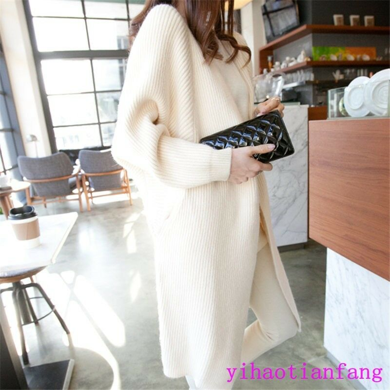 New Vogue Women Loose Knitted Sweater Batwing Sleeve Top Cardigan Outwear Casual