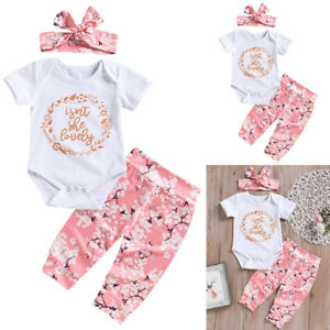14807ade7 Newborn Baby Girl Romper Tops Jumpsuit Pants Headband Outfit Clothes ...