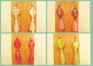 4-Pairs-Handmade-Beaded-Simple-Teardrop-Glass-Resin-Earring-Party-Mix-WHOLESALE