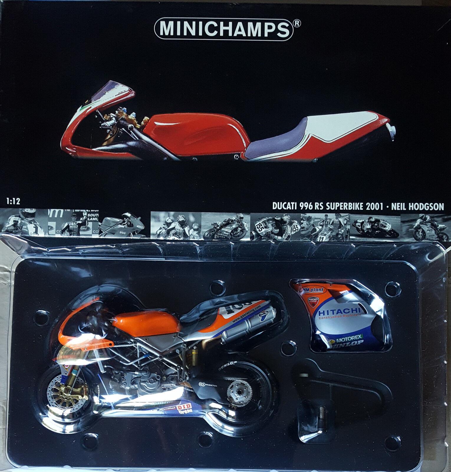 MINICHAMPS NEIL HODGSON DUCATI 996 RS SBK 2001 1:12 VERY RARE RARE VERY !! 8da906