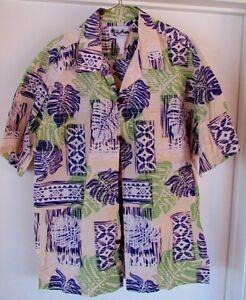 b92b59c07286 Vintage Howie Hawaiian Shirt Made in Hawaii Large 55% Cotton White ...
