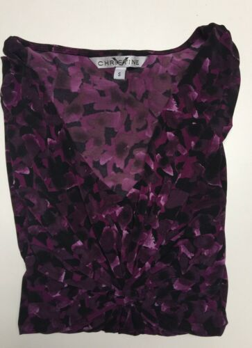 Ladies Poly Spandex 3//4 Sleeves Knot Front V Neck Top Blouse XS-S-M-L-XL NWT