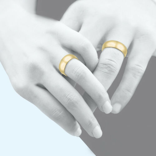 14K Solid Yellow Gold Regular Fit Plain Wedding Band Ring 2-6mm Size 5-13 Polish