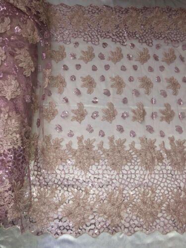 """1 Mètres dusty rose brodé festonné orné de perles et sequins en dentelle de mariée Tissu Large 52/"""""""