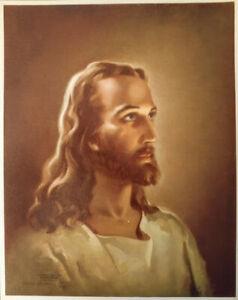 SALLMAN-Vintage-Head-of-Christ-Lithograph-Kriebel-amp-Bates-1940-11-3-4-034-X-15-034
