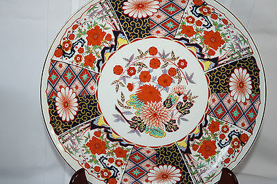 """JAPANESE PORCELAIN IMARI COLORED FLOWERS SET OF (2) PLATTERS/CHARGERS 12.5"""""""