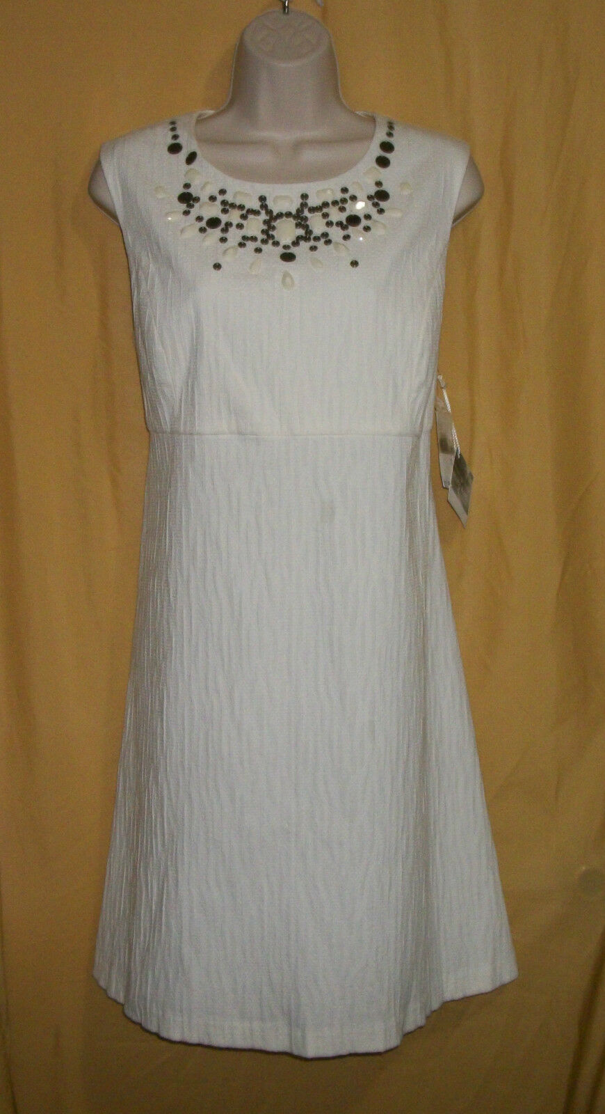 Mac & Jac women's ivory off white beads stretch simple shift knee dress top  99