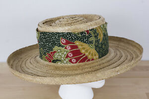 97704b84 Vintage Happy Cappers Sun Straw Hat Size XL Cloth Wrap The Field ...