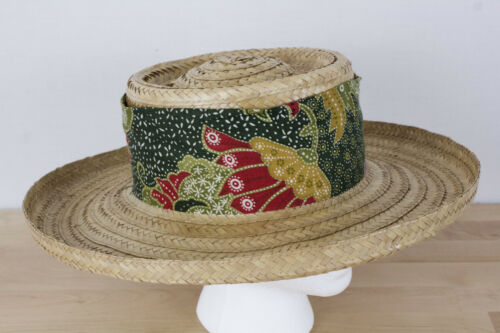 Vintage Happy Cappers Sun Straw Hat Size XL Cloth