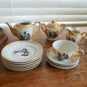 Vintage Disney Micky Mouse  Child's Tea Set - Incomplete Set 14 Pieces. Japan