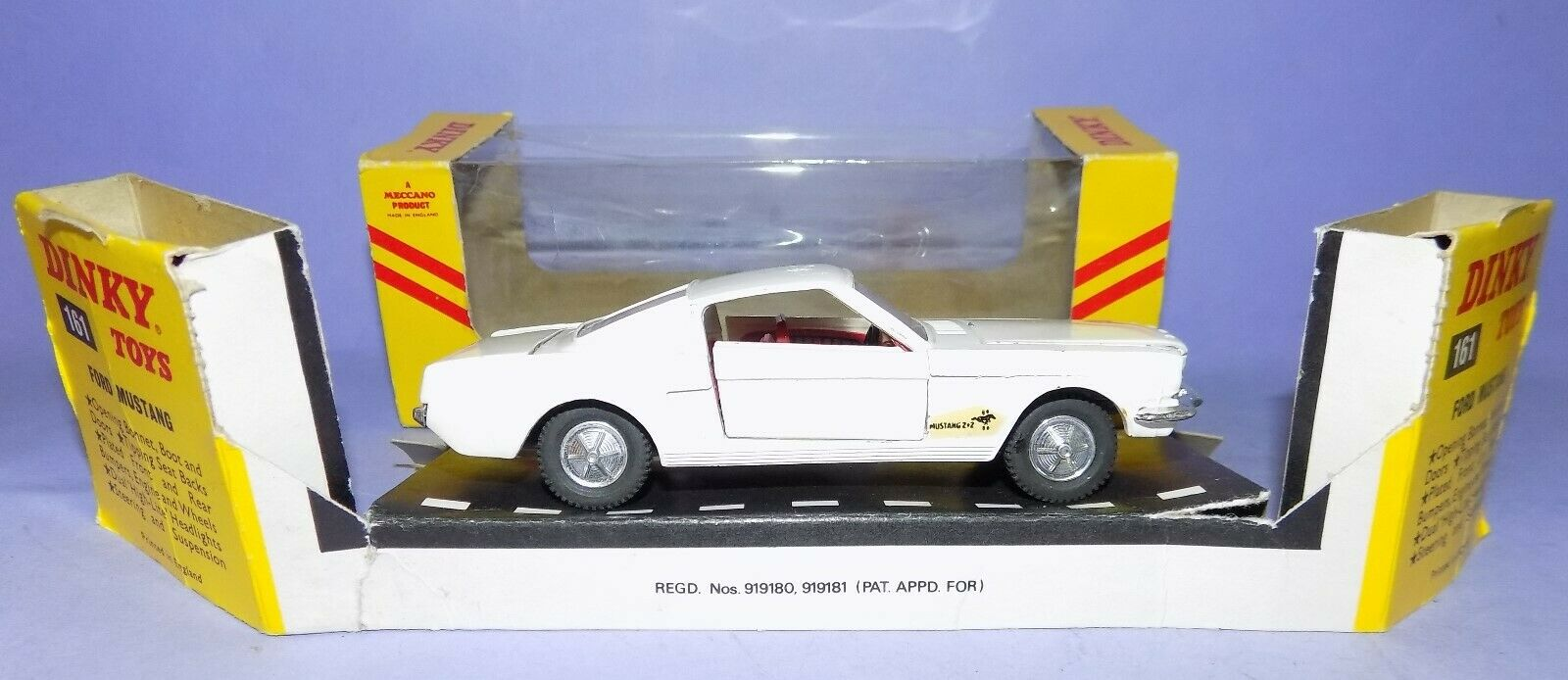 1965-1973  DINKY SpielzeugS NO 161  FORD MUSTANG FASTBACK  IN ITS ORIGINAL BOX