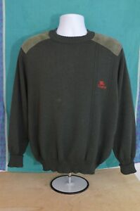 Details about Vintage Burberrys Green Wool Elbow Shoulder Patch Sweater Mens LARGE