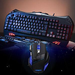 ares k5 7 backlits gaming keyboard uk layout and wired mouse mice bundles combo ebay. Black Bedroom Furniture Sets. Home Design Ideas