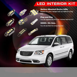14x White LED Light Interior Bulbs Set Kit Fit 2008-2013 Chrysler Town & Country