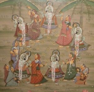 Vintage Pichwai Silk Painting Hindu Krishna Rasa Dance Framed Wear