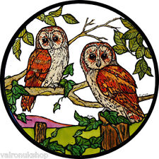 STAINED GLASS WINDOW ART STATIC CLING BARN OWLS