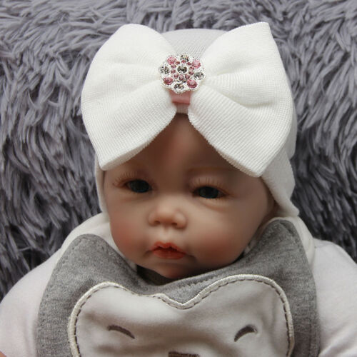 US Newborn Baby Infant Girl Toddler Soft Comfy Bowknot Hospital Cap Beanie Hat