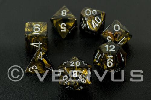 Dadi Chessex foglia Oro Nero Set d20 Giallo marmo venato OLEOSO OLIO 27418