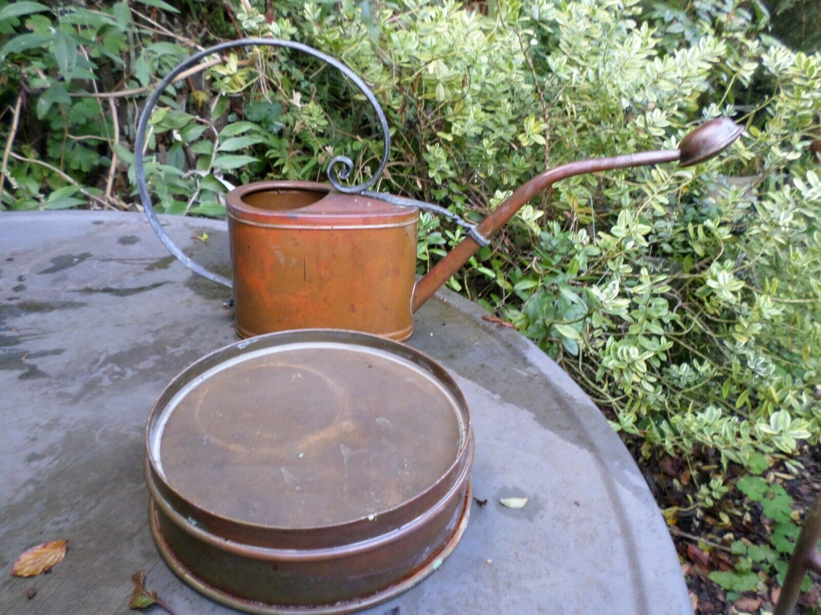 VINTAGE COPPER WATERING CAN & FINE SIEVE OUTDOOR INDOOR GREENHOUSE XMAS GIFT