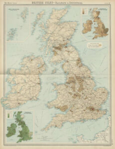 Map Of Scotland Wales And England.Details About British Isles Railways Industrial England Ireland Scotland Wales Times 1922 Map