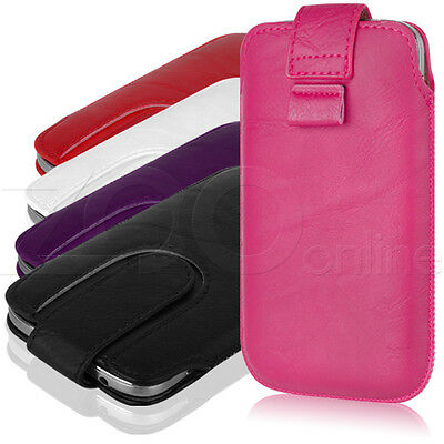 PU LEATHER SECURE PULL-TAB FASTEN POUCH COVER CASE FOR MOTOROLA MOTO G / X / E