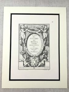 Cosimo de Medici Italian Nobility Coat of Arms Heraldry Heraldic Antique Print