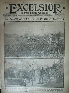 WW1-N-1486-CANON-DE-140-ANGLAIS-GEORGE-V-ET-ALBERT-1er-JOURNAL-EXCELSIOR-1914