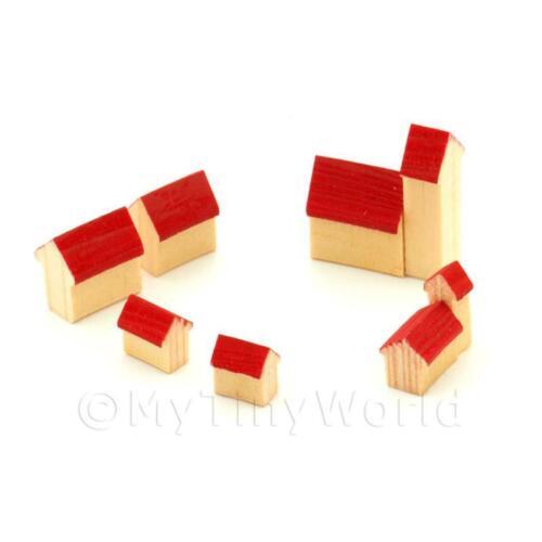 Casa de muñecas en miniatura conjunto de 6 edificios de madera