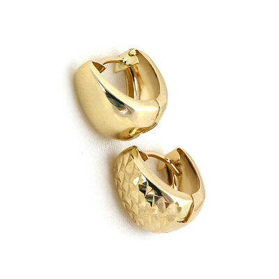 Reversible Diamond Cut or Plain Huggie Hoop Earrings Real 10K Yellow Gold