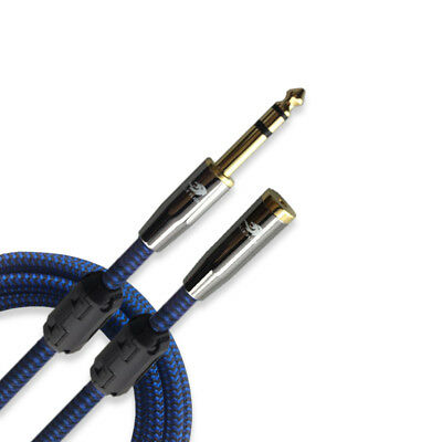 """3.5mm Female to Stereo 6.35mm 1//4/"""" TRS Jack Headphone Extension Audio Cable 1M"""