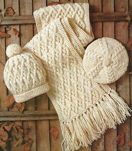 Aran-Hat-Beret-and-Scarf-Knitting-Pattern-Ladies-Boys-Girls-262