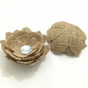 High Quality Jute Burlap Flowers Embellishment With Crystal Design