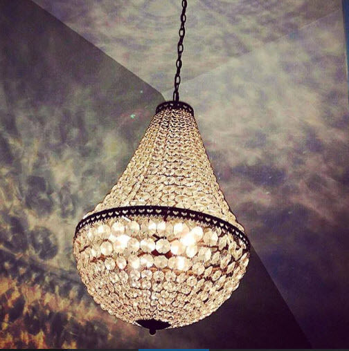 Pottery Barn Mia Faceted Crystal Gl Pendant Chandelier Light Antique Bronze