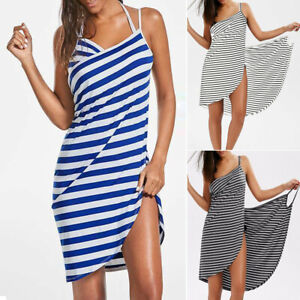 22f56845df926 Details about Women Stripe Sling Mini Dress Backless Swimwear Scarf Beach  Cover Up Wrap Sarong