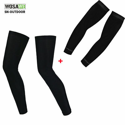 Compression Bike Bicycle Cycling Leg Arm Warmers Sleeve Covers UV Sun Protection