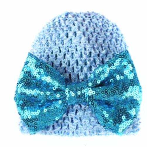 Newborn Kids Bow Sequins Beanie Hat Baby Girls Winter Warm Knittes Stylish Cap