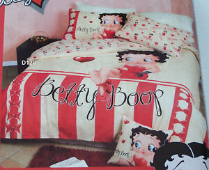 Betty-Boop-Candy-Stripe-Cream-Red-Printed-Queen-Bed-Quilt-Cover-Set-New