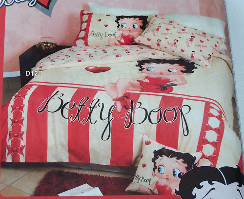 Betty Boop Candy Stripe Cream Red Printed Queen Bed Quilt Cover Set New