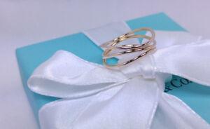 7400dbd1e NEW Tiffany & Co. Elsa Peretti Three Row Wave Ring Size 7.5 18k ...