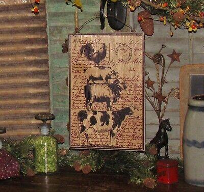Primitive Antique Vtg Style Dairy Farmhouse Cow Hanging Ornament Metal Sign Tin