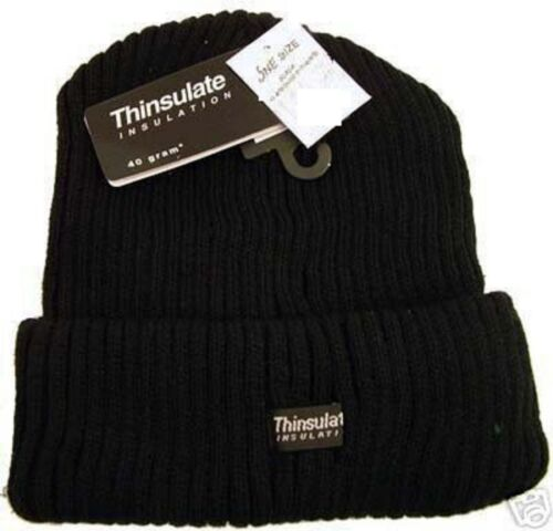 Mens Thinsulate Insulation Knitted Cuff Beanie Winter Hat Black  HAI-702//RS152B