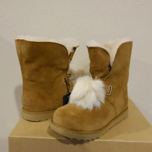 7fb67593b11 Details about UGG Girls' Isley Waterproof Suede Sheepskin Pom Pom Boots,  Youth 4, 5, 6