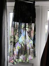 BNWT £48 UK 10 TopShop Maxi Skirt Black Floral Sheer Dip Hem Mini Dress Up Party