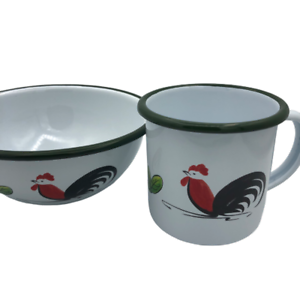 Details about  /Enamel Cup Crow Canyon Home Mug Colored Rim White Vintage Style Coffee Set Bowl